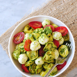 Pesto Tortellini Salad with Fresh Mozzarella & Grape Tomatoes