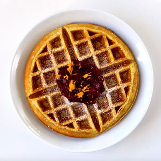 Eggnog Waffles with Cranberry Compote.