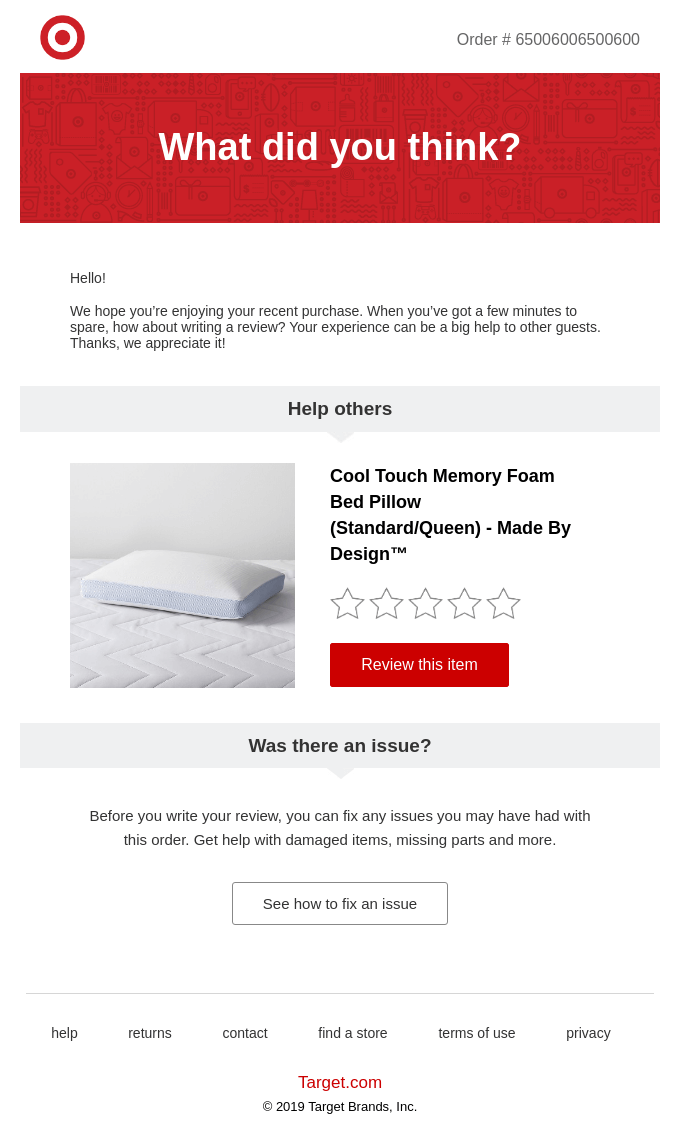 Product review email example