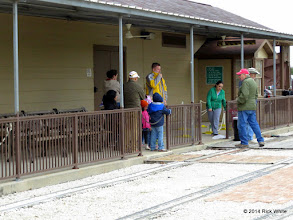 Photo: One family waiting at 12:42 PM while Train Master Bob Barnett gets ready to load them.    HALS Public Run Day 2014-1115 RPW
