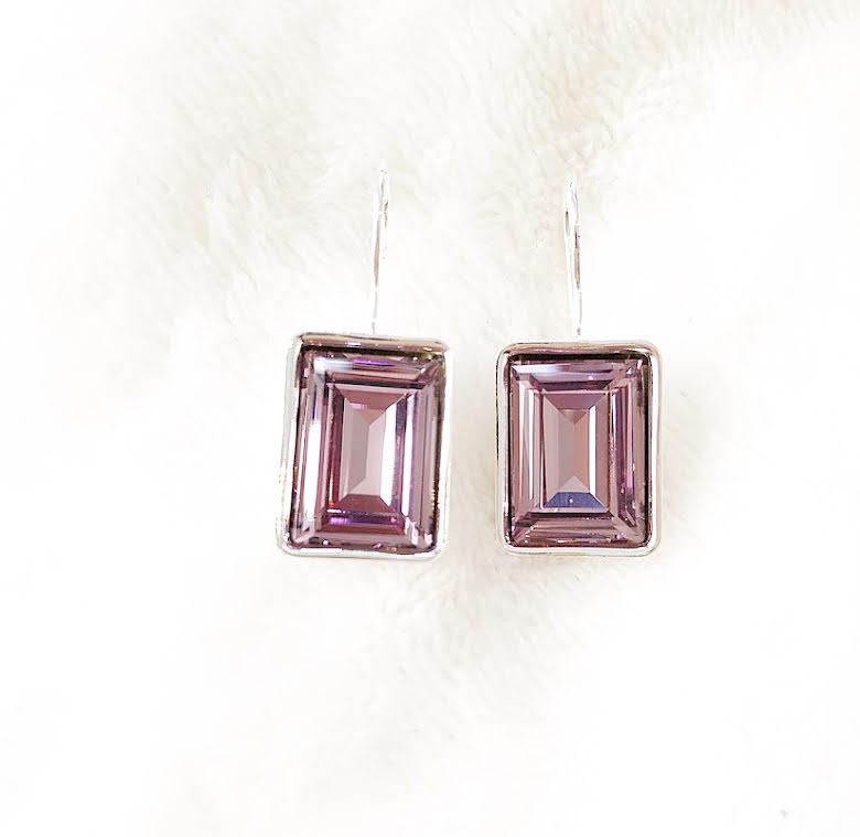 Örhängen med Swarowski® kristaller Charlie Rektangel Pink