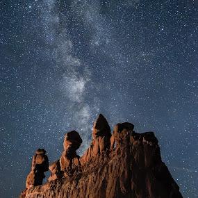 Noche de Tres Amigos by Givanni Mikel - Landscapes Starscapes ( utah, three amigos, red rock, goblin valley, milky way )