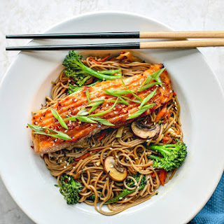 Miso Glazed Salmon With Sesame Soba Noodles.