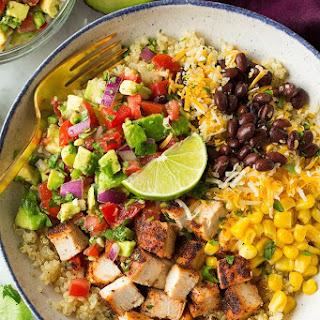 Grilled Chicken and Quinoa Burrito Bowls with Avocado Salsa.
