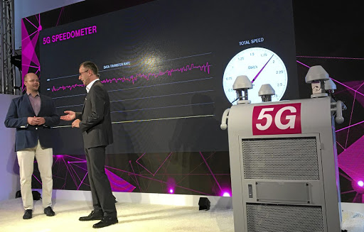 Deutsche Telekom telecom chief technical officer Bruno Jacobfeuerborn presents the 5G ultra-high-speed next-generation mobile antennas technology in Berlin, Germany, on October 12, 2017. Picture: REUTERS