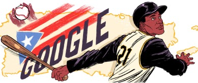 A man in a baseball hat swinging a baseball bat in a Pittsburgh Pirates jersey with Google and the Puerto Rican flag in the background.