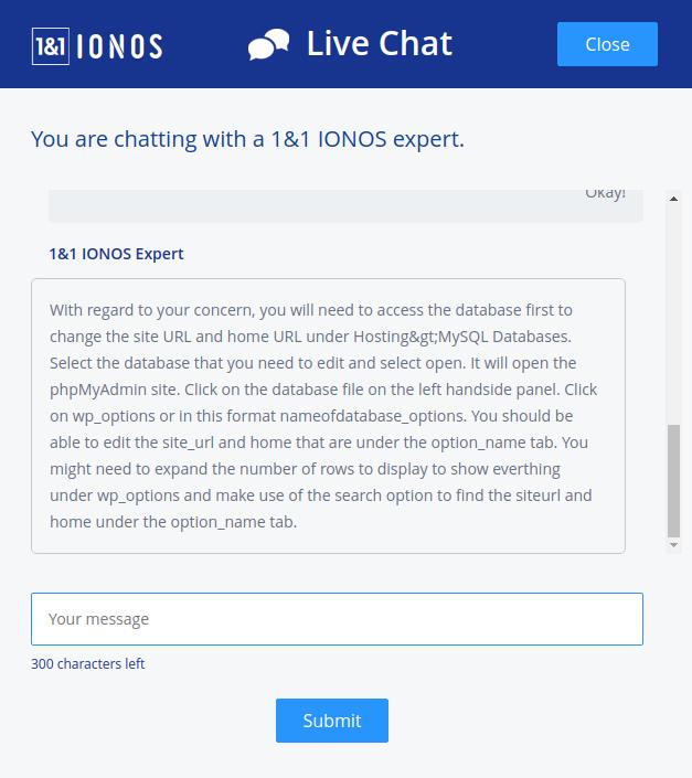 1&1 IONOS hosting support 2