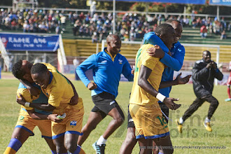 Photo: The Amavubi celebrate after their penalty shoot out victory over Sudan[Rwanda vs Sudan, CECAFA 2015, Semi final, 3 Dec 2015 in Addis Ababa, Ethiopia.  Photo © Darren McKinstry 2015, www.XtraTimeSports.net]