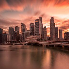 Shenton Glory by Gordon Koh - City,  Street & Park  Skylines ( shenton way, skyline, reflection, riverfront, cityscape, singapore, urban, cbd, skyscraper, sunset, asia, cloud, long exposure, waterfront, jubilee bridge, golden hour,  )