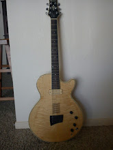 Photo: Here's my secret prize: a 1988 Ibanez AE200 semi-hollow electric/acoustic. This one is a factory prototype, and was never produced for the line. Yes, this is a one-of-a-kind guitar.