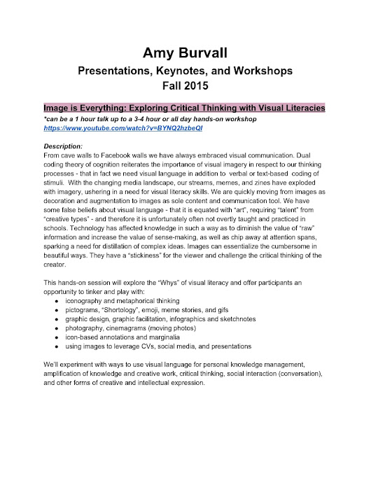 Amy Burvall Presentation and Workshop Descriptions Fall 2015