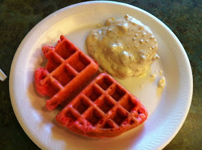 Photo: Strawberry waffles you cook yourself, and very oh-so-western biscuits and gravy.