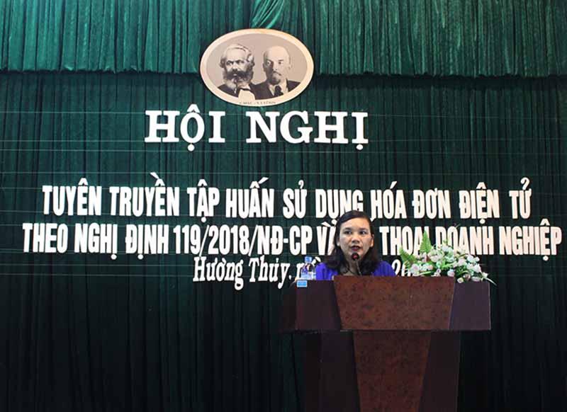Bà Âu Thị Nguyệt Liên - Trưởng phòng tuyên truyền Cục Thuế tỉnh Thừa Thiên Huế