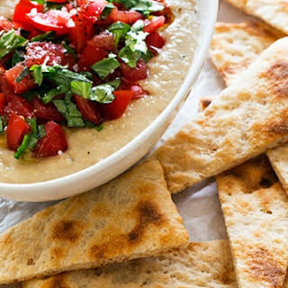Hummus Pomodoro with Warm Pizza Crust.
