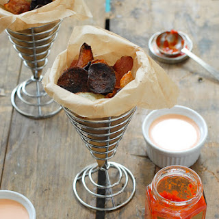 Colorful Baked Smoked Paprika Potato Chips with Sriracha-Sour Cream Dipping Sauce
