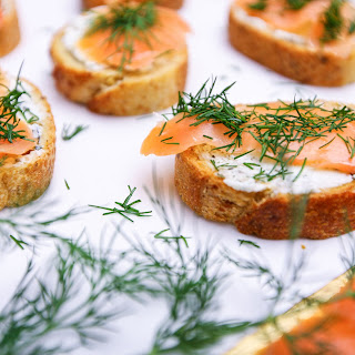 Smoked Salmon Dill Goat Cheese Baguette Bites.