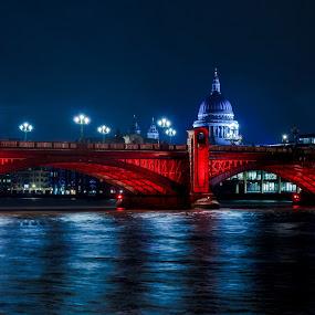Blackfriars bridge and St Pauls by night by Dimitri Foucault - Travel Locations Landmarks ( stpauls, pwclandmarks, london, blackfriars, night, bridge, city )