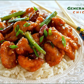 Authentic General Tso's Chicken with Green Onions & Dried Red Chili Peppers