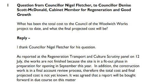 Greenwich Council again fail to answer question on Woolwich Works
