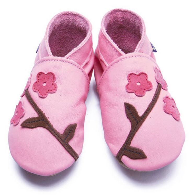 Inch Blue Soft Sole Leather Shoes - Oriental Blossom Pink (6-12 months)