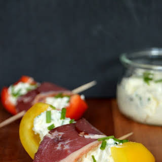 Grilled Pepper Tapas wrapped with Smoked Duck Breasts.