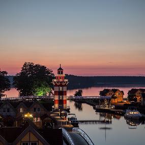 the little lighthouse by Karin Wollina - Landscapes Sunsets & Sunrises ( colors, sunset, beautiful, lighthouse, night, light )