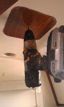 """Photo: the new vent fan requires a 4 3/4"""" circular hole.  First step locate the center and drill s 3/16"""" hole."""