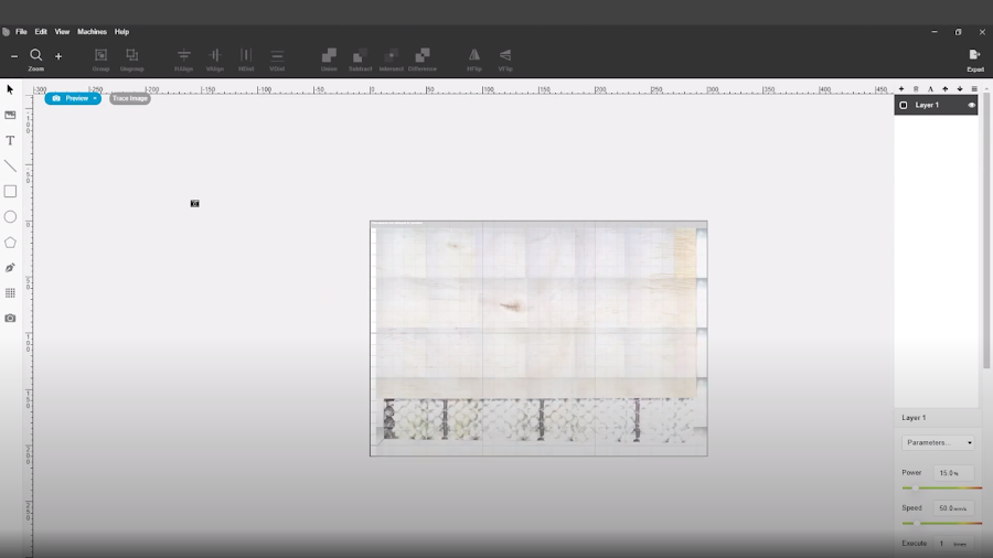 Beam Studio makes it easy to plot your next pattern before cutting and engraving.
