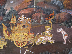 Photo: A scene from the long-running mural of the Ramakien (Thai version of the Ramayana)