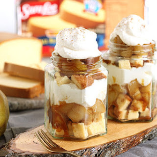Spiced Pear Poundcake Trifle with Caramel Sauce and Vanilla Bean Whipped Cream