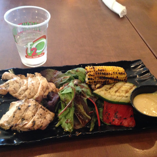Grilled chicken breast with grilled veggies