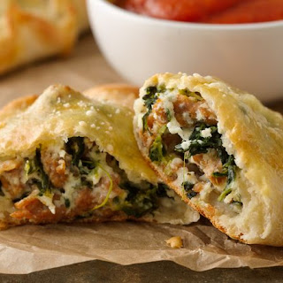 Spinach, Ricotta and Sausage Calzones.