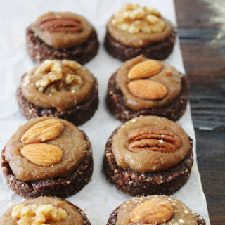 ALMOND CACAO COOKIES with SALTED MACA CARAMEL