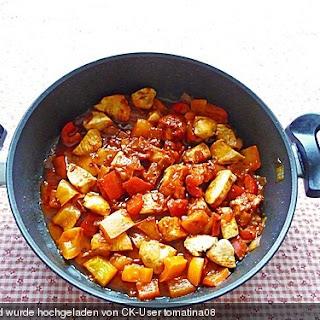 Paprikagemüse mit Hähnchenbrustfilet im Wok