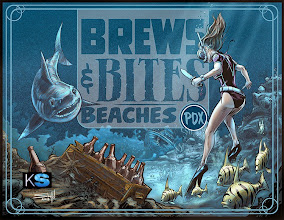 Photo: Growler label for the Brews & Bites dinner at the Beaches restaurant located in the Portland International Airport.