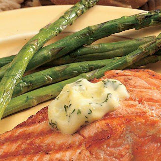 Grilled Salmon with Lemon-Dill Butter.