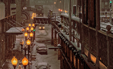 """Photo: From an """"L"""" platform during an early morning snowstorm in Chicago. #chicago #snow"""