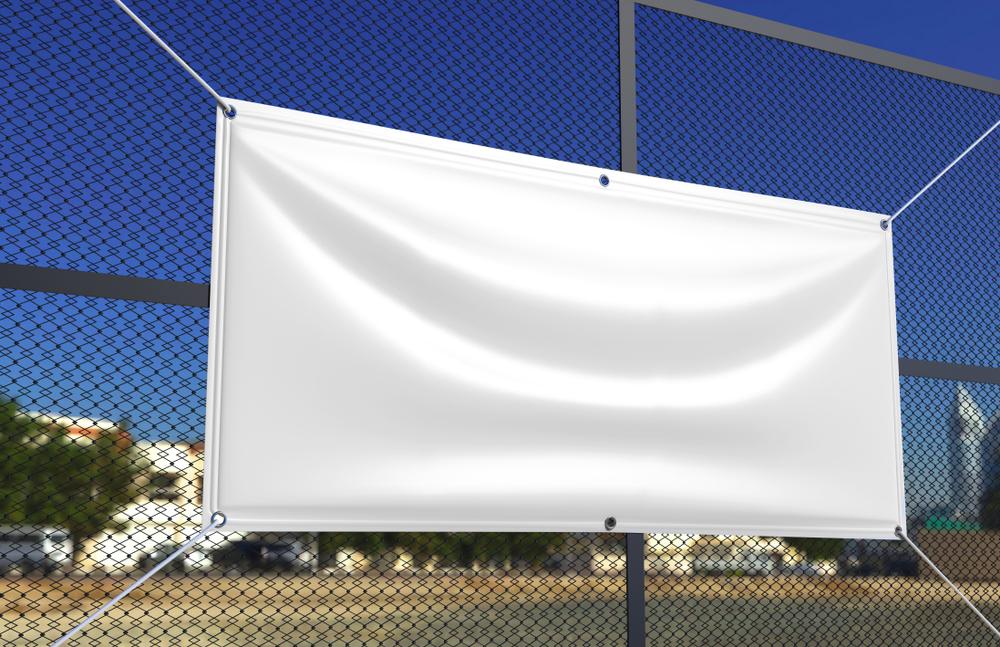 vinyl banner on a fence