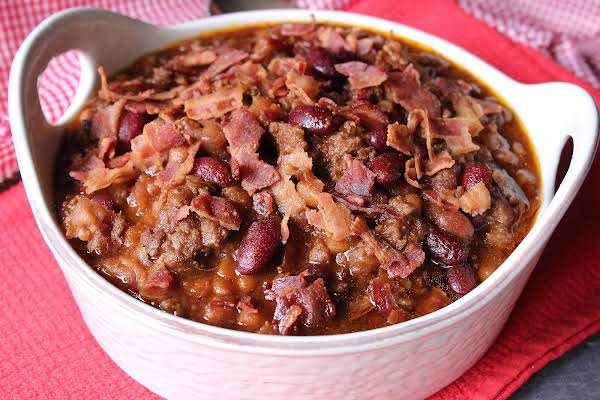 A Bowl Of Bbq Crock Pot Beans.