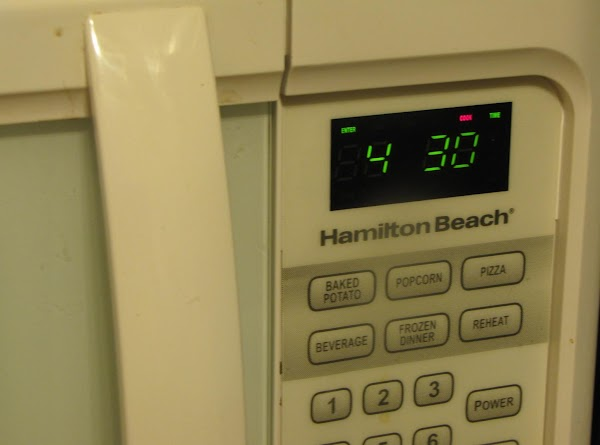 Return the container to the microwave and set timer for 4 minutes and 30...