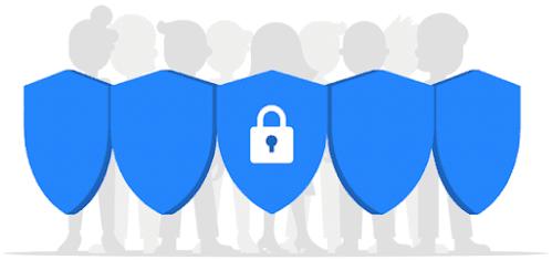 Un gruppo di persone in silhouette in piedi dietro a uno scudo blu con un lucchetto sulla parte anteriore