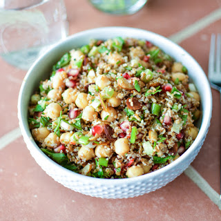 Bulgur Salad with Chickpeas, Pomegranate Seeds and Almonds