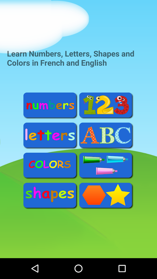 French and English Numbers Letters Shapes Colors- screenshot