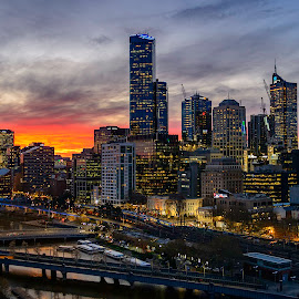 Melbourne Sunset by Dominic Stove - City,  Street & Park  Skylines ( reflection, city, golden hour, sunset, australia, river, melbourne )