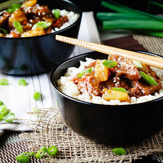 Spicy Mongolian Beef and Pineapple.