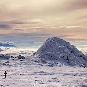 Follow the leader by Malinov Photography - Landscapes Mountains & Hills ( mountain, sunset, snow, leader, landscape, rocks )