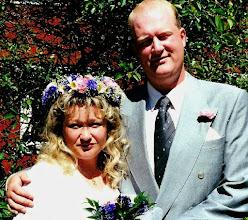 Foto: Maria Kangas och Tomas Feltsten, bröllopsfoto taget den 3 juli 1999 i Gullspång, Sverige.