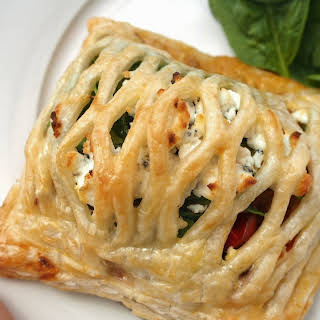 Vegetarian Pastry Parcels With Roast Vegetables And Goat Cheese.