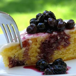 Lemon Cornmeal Cake with Lemon Glaze and Crushed-Blueberry Sauce