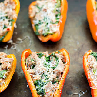 Sausage, Goat Cheese and Arugula Stuffed Peppers.